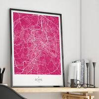 Mappa Città Di Roma - Wall Art Poster Minimale Ad Alta Definizione Minimal Map -  - ebay.it
