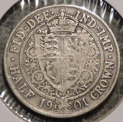 British Silver Half Crown - 1901 - Overstock Sale! - $1 Unlimited Shipping -022