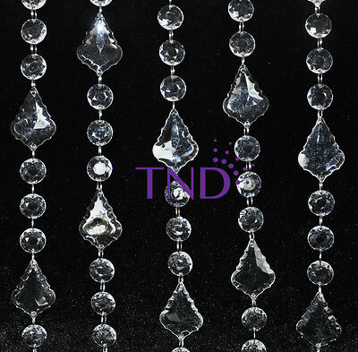 ROUND & MAPLE LEAVE ACRYLIC CRYSTAL GARLAND STRAND CHAIN HANGING DIAMOND DECOR