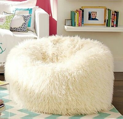 Pottery Barn Teen Furlicious Faux Fur Beanbag Cover Ivory LARGE 41""
