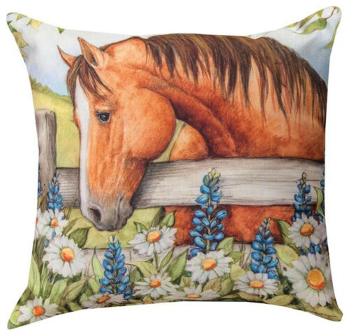 "HORSE IN THE GARDEN WITH BLUEBONNETS INDOOR OUTDOOR PILLOW - 18"" SQUARE"