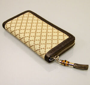 New Authentic GUCCI Diamante Canvas Clutch Zip Around WALLET w/Bamboo,BrownTrim