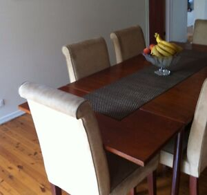 Solid timber expandable dinning tables and chairs Belrose Warringah Area Preview