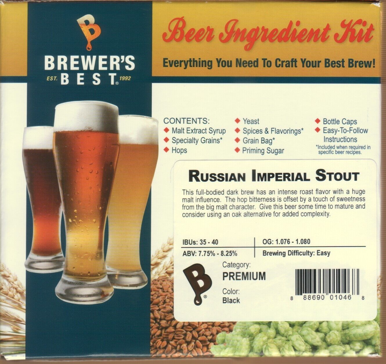 BEER KIT RUSSIAN IMPERIAL STOUT MAKE 5 GALLONS BREWERS BEST INGREDIENT KIT #1046
