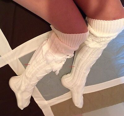 Soft Thick Cable Knit Over The Knee High Socks Womens White OTK Boot Cuff Tie