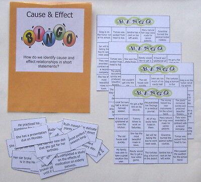 Teacher Made Literacy Center Activity Resource Game Cause & Effect BINGO