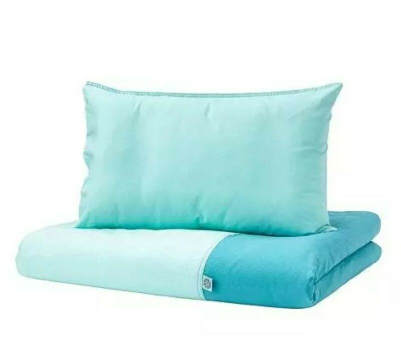 New IKEA Tillgiven Crib Duvet Cover and Pillowcase Blue Bedding