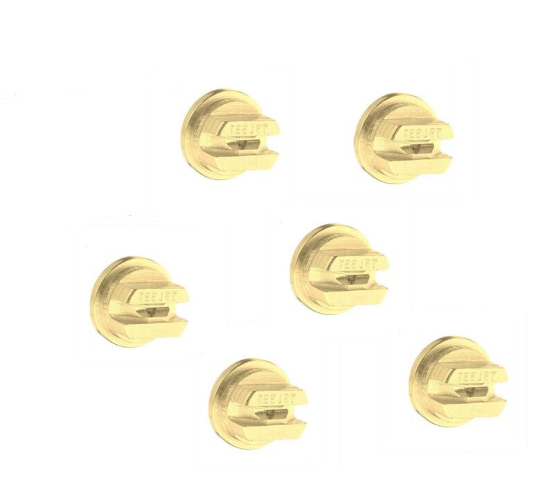 Pack of 6 - TeeJet Brass Even Flat Spray Tip 80° Rated 0.20 GPM @ 40 PSI TP8002E