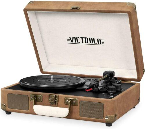 Victrola Record Player Vintage 3-Speed Bluetooth Suitcase Turntable -BROWN/BEIGE