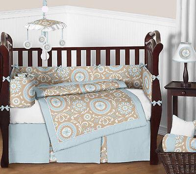 - Sweet Jojo Modern Blue Taupe White Crib Bedding Set for Newborn Baby Boy Girl