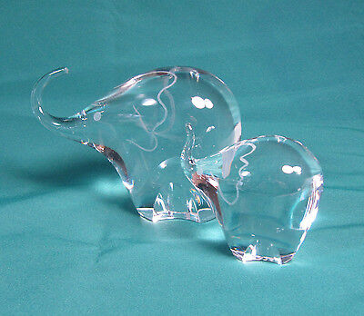 Vintage Small and Large Kosta Boda Etched Glass Elephants Signed Lindstrand