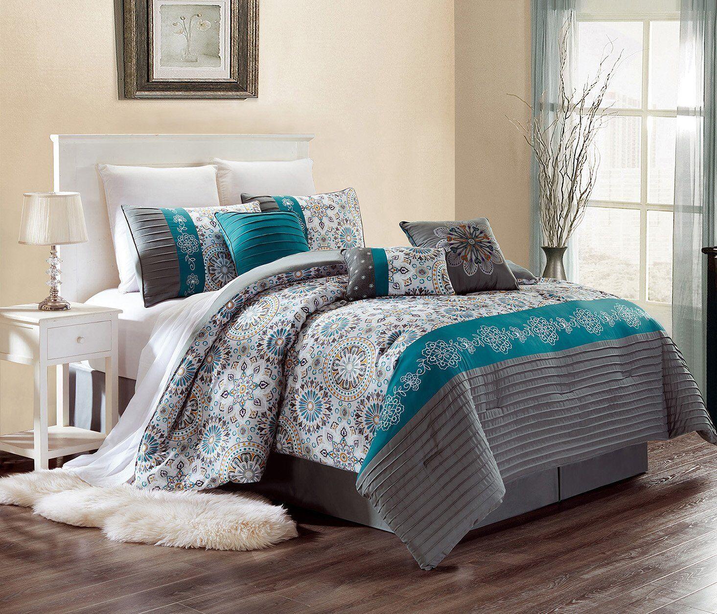 Luxury 7 Pc Pin Tuck Comforter Set  Dark Grey/Teal Blue/Yell