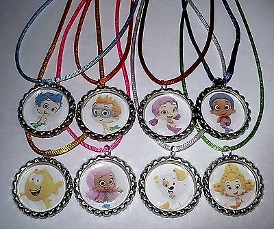 10 Bubble Guppies Party Supply Bottle Cap Favors Necklace With Color Cords