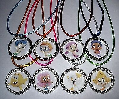 8 Bubble Guppies Party Supply Bottle Cap Favors Necklace With Color Cords