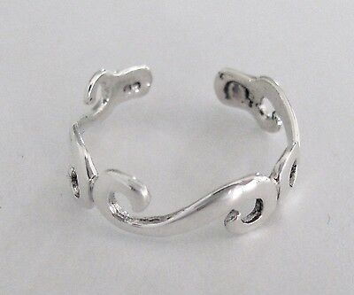 Sterling Silver Dainty scrolls adjustable toe ring
