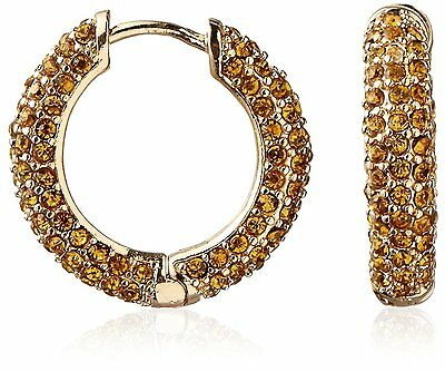 Cohesive Jewels Pave Yellow Crystal Gold Hoop Earrings w Hinge Snap Closure NWT