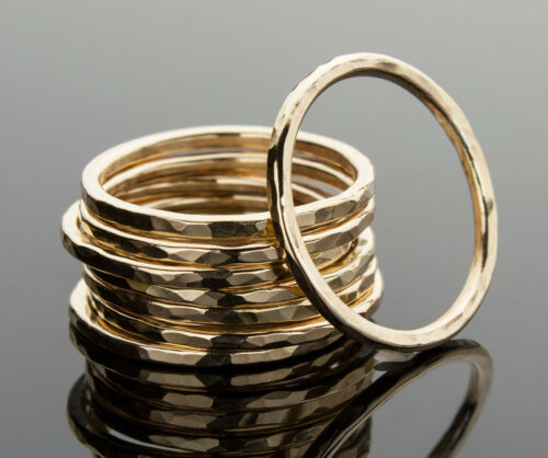 Stacking Ring 14K Yellow Gold-Filled Hammered Texture Handcrafted Ring iDu