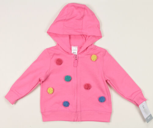 CARTERS INFANT GIRLS PINK DOT COTTON FULL ZIP HOODED CARDIGAN 6 MONTHS