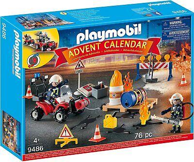 PLAYMOBIL FIRE RESCUE ADVENT CALENDAR 76PC CHRISTMAS BRAND NEW 9486 4+