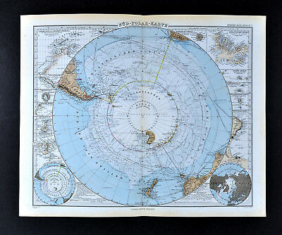 1892 Stieler World Map - South Pole Antarctica Antarctic Ocean Explorer Routes