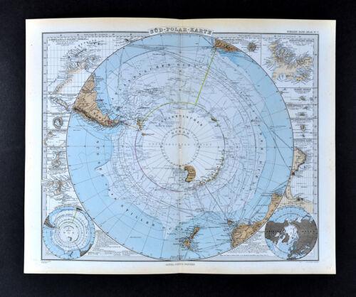 1892 Stieler World Map - South Pole Antarctica Antarctic Ocean Explorer Routes