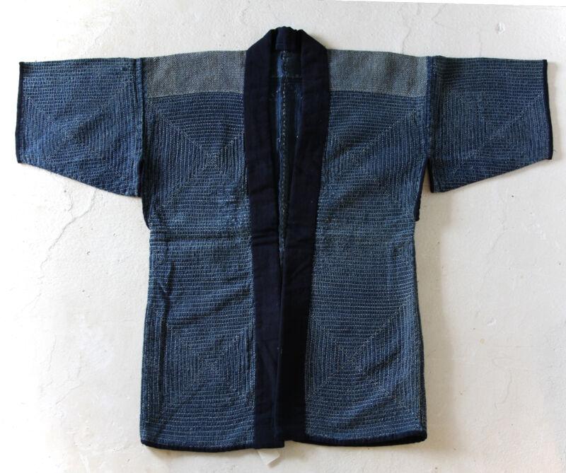 Japanese Antiques- Indigo Sashiko Jacket Noragi from 19th century