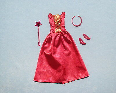RED & Gold FAIRY PRINCESS Sleeveless Satiny BARBIE Gown w/ Heels & Tiara