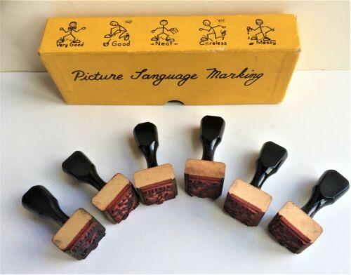 Summit Industries Vintage Teacher Set of 6 Picture Language Grading Rubber Stamp