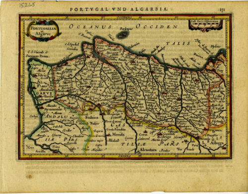1631 Genuine Antique map Portugal. Hand color. Mercator