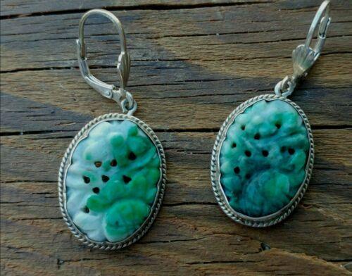 Vintage Carved Jadeite Jade Sterling Earrings