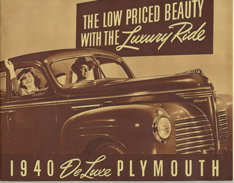 1940 DeLuxe Plymouth Automobile Promtional Booklet w/ Woodie