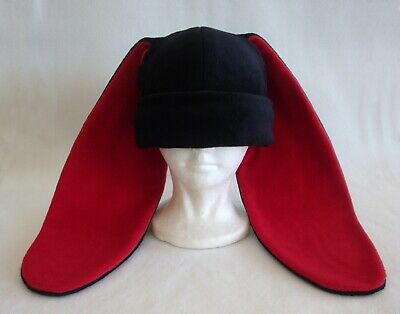 Rabbit Hat Costume (Long ear BUNNY rabbit HAT beanie BLACK & RED anime cosplay Halloween)