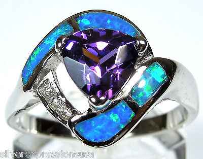 Amethyst & Blue Fire Opal Inlay Solid 925 Sterling Silver Ring Size (Blue Opal Inlays Amethyst Ring)