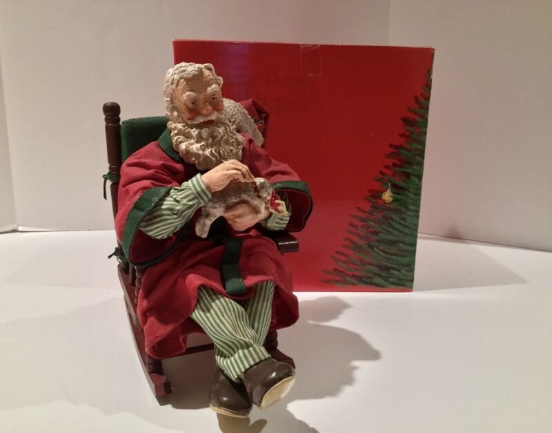 VINTAGE CLOTHTIQUE POSSIBLE DREAMS SANTA IN ROCKING CHAIR WITH KITTEN