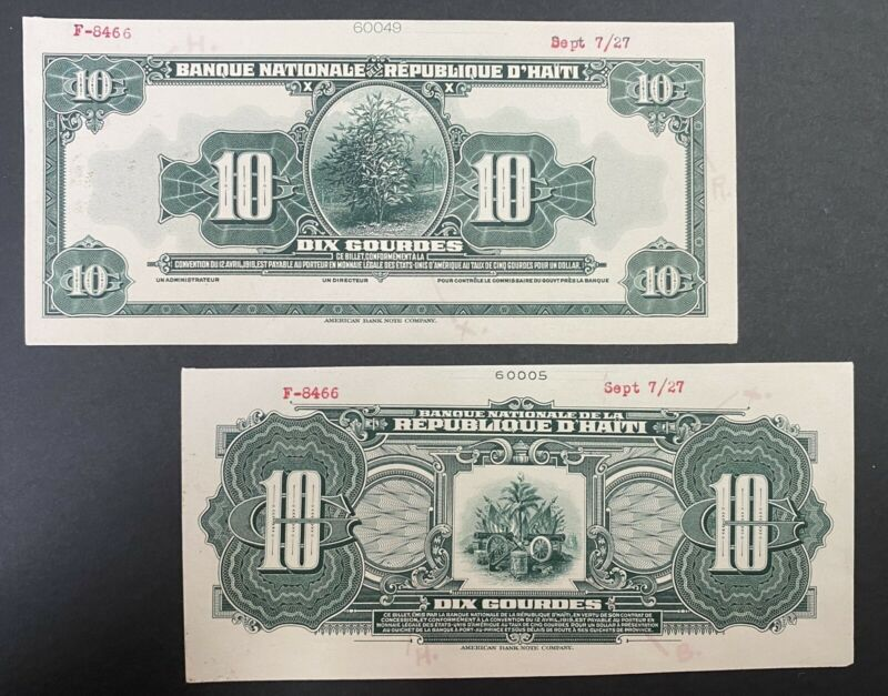 Haiti Proof Banknote Front/Back On Cards P 163