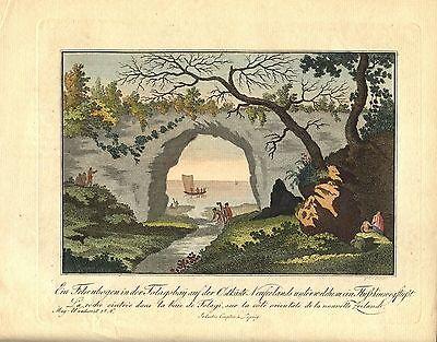 NEUSEELAND - Felsenbogen Tolagobay Kupferstich um 1820 - Original!!