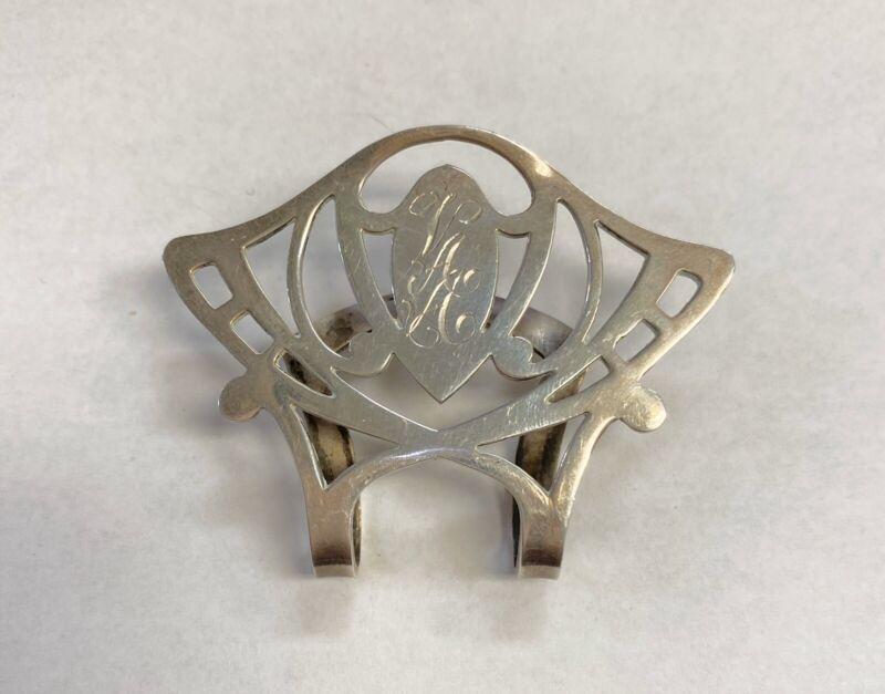 Vintage Rogers Lunt Bowlen Sterling Napkin Clip Monogrammed VAA