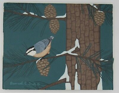 Signed Bernard C. Scott painting bluebird in snowy pine tree 8x10