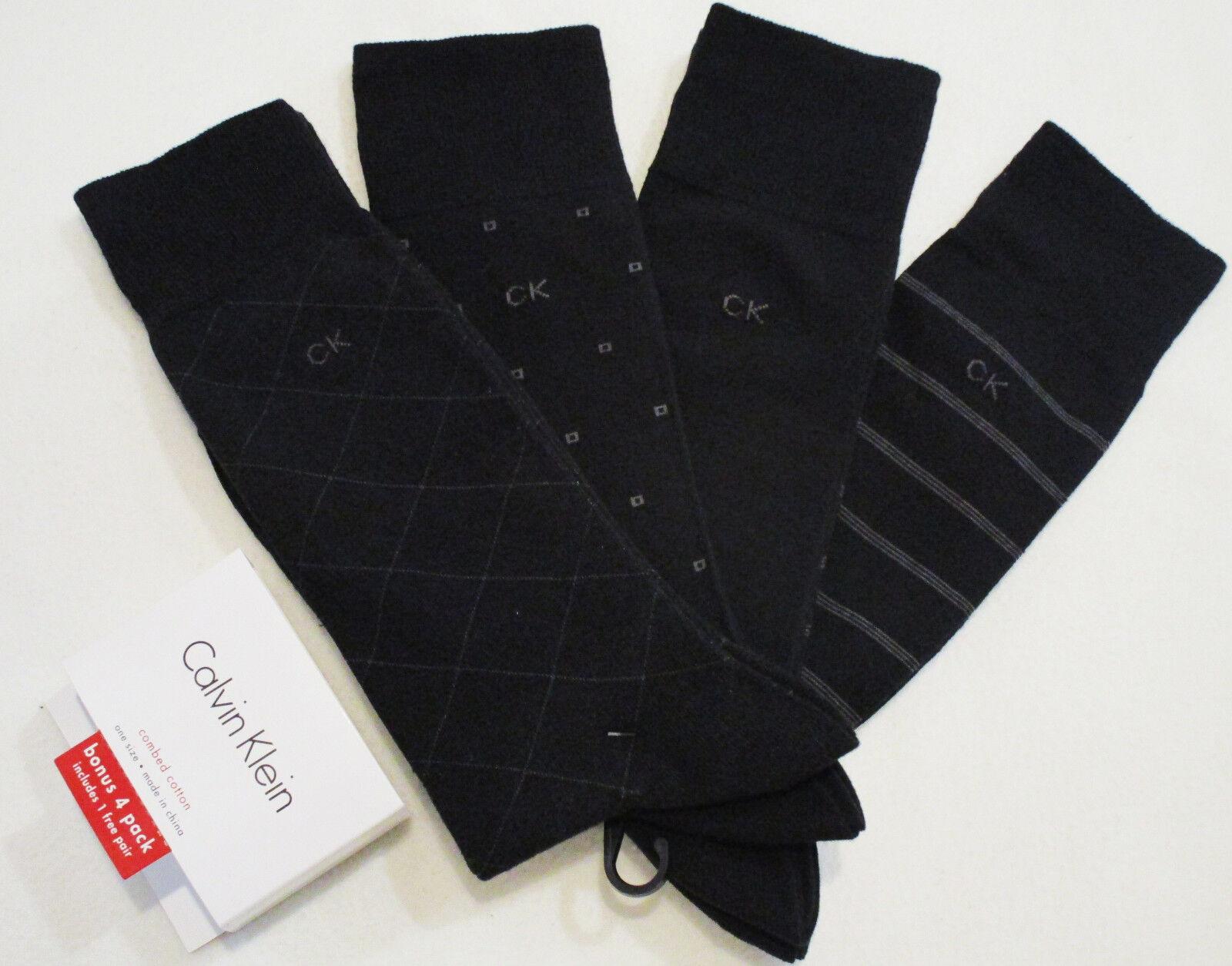 CALVIN KLEIN Dress men's socks 4 pairs black NEW