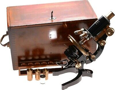 Leitz Brass Monocular Microscope 3 Objective Lenses Circular Pol Stage Eyepieces
