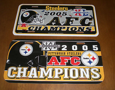 2 2005 PITTSBURGH STEELERS AFC CHAMPIONS LICENSE PLATES - SUPER BOWL XL - NEW
