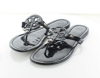 12-61 $198 Women's Sz 9 M Tory Burch Miller Patent Leather Flip Flop Sandals