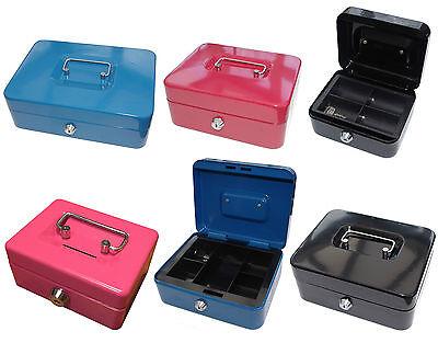 Petty Cash Box Black Metal Security Money Safe Tray Holder Key Lock Lockable