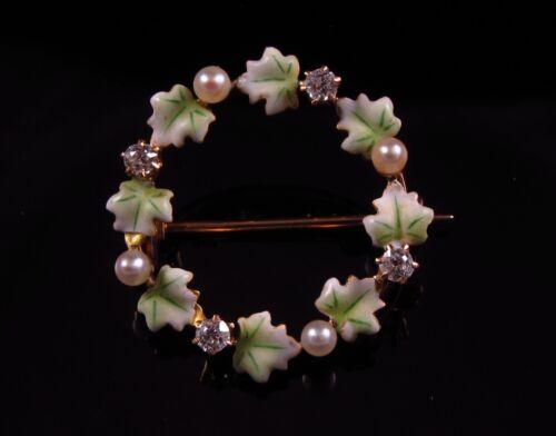 Antique 14K Gold Victorian Enamel Diamond & Pearl Circular Wreath Brooch Pin