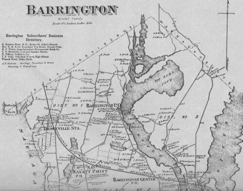 Barrington Nayatt  RI 1870 Map with Homeowners Names Shown
