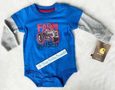 NEW Carhartt infant baby boys FARM RAISED one piece L/S TRACTORS bodysuit sz 6M