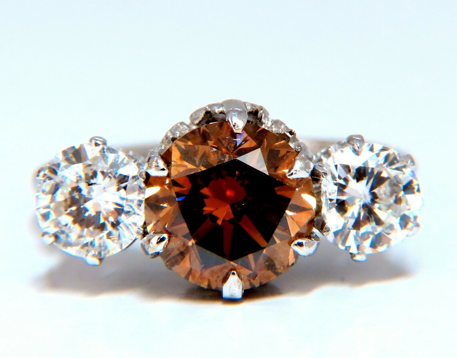 GIA certified 3.64ct Fancy Brown Orange Diamond ring 18 Karat Three Stone