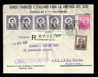18115-CHILE-REGISTERED BANK COVER VALPARAISO to ENGLAND 1935.WWII.Certificado. segunda mano  Lestrove