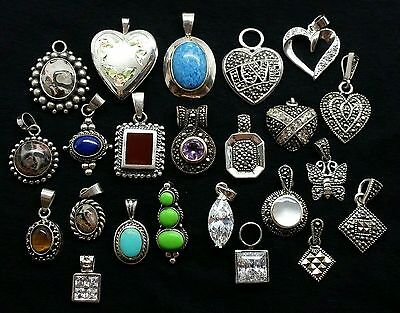 LOT OF 23 PENDANTS 925 STERLING SILVER WHOLESALE JEWELRY MIX OF GEMSTONE