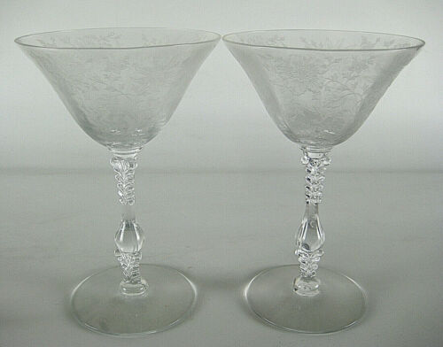 Cambridge Wildflower Clear 2 Champagne Glasses Tall Sherbet Etched Flowers